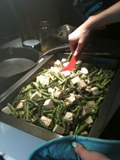 Miso and balsamic roasted tofu and asparagus