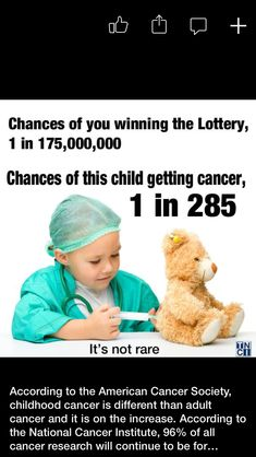 The chances of a child getting cancer are approximately 1 in 285