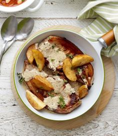 The cider and apples in this recipe make the perfect partners to the pork chops. Serve with mashed potato. Healthy Pork Recipes, Meat Recipes, Cooking Recipes, Cake Recipes, Irish Recipes, Delicious Recipes, Healthy Food, Yummy Food, Apple Recipes Dinner
