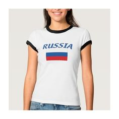 Russian Flag T-shirt (105 RON) ❤ liked on Polyvore featuring tops and t-shirts