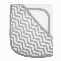 American Baby Company Organic Cotton Terry Hooded Towel Set, White with Gray ZigZag