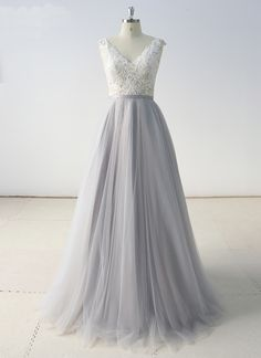 2019 Gray Tulle A Line Long White Lace Evening Dress, Formal Dress from Sweetheart Dress – Business İdeas Tulle Prom Dress, Grad Dresses, Cheap Prom Dresses, Formal Dresses, Wedding Dresses, Tulle Wedding, Lace Weddings, Bridesmaid Dress, Homecoming Dresses