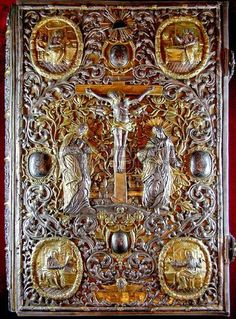 heavy rich golden cover of Orthodox Gospel or Bible photo