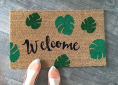 Palm Leaves Welcome Mat / Custom Doormat / Housewarming Gift / Wedding Gift / Summer Decor / Funny Doormat / Outdoor Doormat / Unique Gifts by NickelDesignsShop on Etsy https://www.etsy.com/listing/275564140/palm-leaves-welcome-mat-custom-doormat