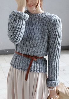 Ribbed Grey Pullover Sweater - Chunky Knit belted with skirt Poncho Pullover, Pullover Sweaters, Knit Sweaters, Cardigans, Look Fashion, Womens Fashion, Knit Fashion, Fashion Trends, Sweater Outfits