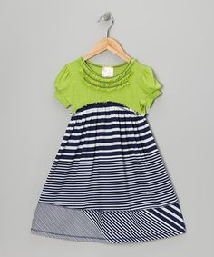 Take a look at this Navy & Lime Stripe Babydoll Dress  - Toddler & Girls by Pink Vanilla on #zulily today!