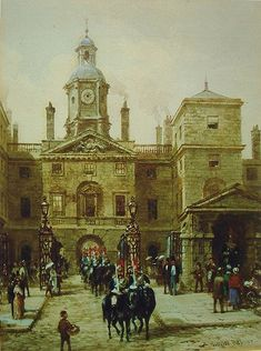 Horseguards, London shows the building of that name built 1751-3 between Whitehall and Horse Guards Parade.