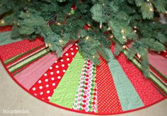 """READY TO SHIP - Quilted 58"""" Christmas Tree Skirt - Joy. $210.00, via Etsy."""