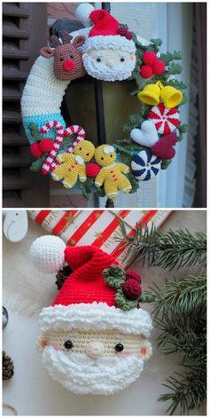 Crochet Christmas Wreath, Crochet Wreath, Crochet Christmas Decorations, Christmas Crochet Patterns, Holiday Crochet, Xmas Ornaments, Christmas Wreaths, Christmas Crafts, Crochet Santa