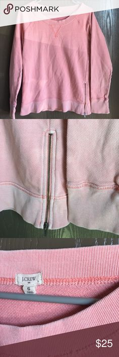 J.Crew Women's Small pink pullover J.Crew women's small pink/blush tone pullover sweater with zipper detailing on the side.little to no signs of staining or wear. J. Crew Tops Sweatshirts & Hoodies