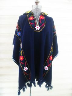 Vintage 60's ethnic embroidered blanket poncho by houuseofwren