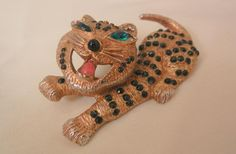 Vintage Rare whimsical Tiger Cat black Red stones Emerald Green eyes Brooch
