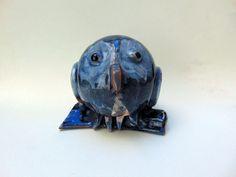 Ceramic blue sky owl, Vietri pottery home decor, modern ceramic handmade blue bird by PulcinellaCeramics on Etsy