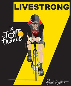 Before the Fall: Lance Armstrong wins, 7th Tour de France. Drawn in Adobe Illustrator based on media photographs. Poster 12X18. By Randy Wrighthouse