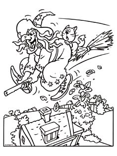 Kleurplaat Heks op een bezemsteel - Kleurplaten.nl Halloween Coloring Pictures, Free Halloween Coloring Pages, Dinosaur Coloring Pages, Halloween Pictures, Colouring Pages, Coloring Sheets, Coloring Books, Halloween Letters, Halloween Artwork