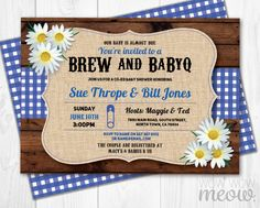 Brew and BaByQ Invitations Baby Shower Co-Ed Couples Invites BBQ Blue Navy INSTANT DOWNLOAD Party Daisy Rustic Personalize Edit & Printable by wowwowmeow on Etsy https://www.etsy.com/listing/275453670/brew-and-babyq-invitations-baby-shower