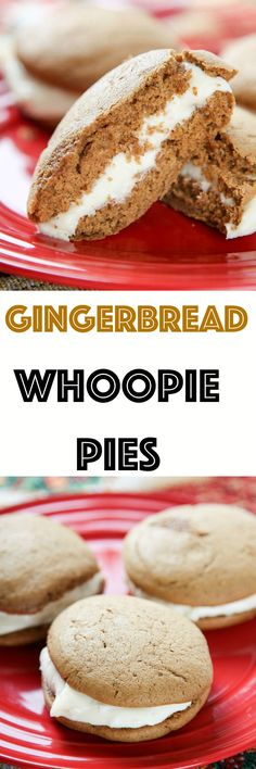 Gingerbread Whoopie Pies: Pillowy brown sugar and spice whoopie pies sandwiched between a thick layer of cream cheese frosting. These are perfect if you like the flavor of gingerbread without the crunch!