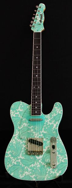 Crook Custom Guitars in Surf Green and White Sparkle Paisley
