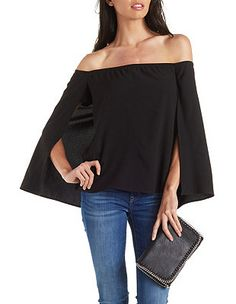 Off-the-Shoulder Caped Blouse: Charlotte Russe