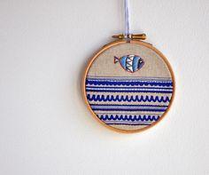 Drop Fish 2 - mixed media Round Dreams - embroidery art & screen print - 4''. $30.00, via Etsy.