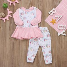 - Lia's Rainbows 2 pcs outfit - Material: Cotton - Gender: Baby Girls - Style: Fashion - Fabric Type: Broadcloth - Sleeve Length(cm): Full - Closure Type: Pullover - Outerwear Type: Coat - Pattern Type: Print - June 29 2019 at Baby Outfits, Casual Dress Outfits, Little Girl Dresses, Toddler Outfits, Kids Outfits, Nice Dresses, Girls Dresses, Baby Girl Fashion, Kids Fashion