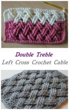 Double Treble Left Cross Crochet Cable Double Double Basket Free Crochet PatternsHow To Crochet Celtic Cable StitchV Double Crochet Stitch Tutorial Crochet Simple, Crochet Diy, Crochet Crafts, Double Crochet, Crochet Chain, Diy Crafts, Crochet Cord, Farm Crafts, Crochet Projects