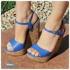 salto alto - sandália anabela - azul bic - heels - Ref. 14-13627 - alto verão 2015
