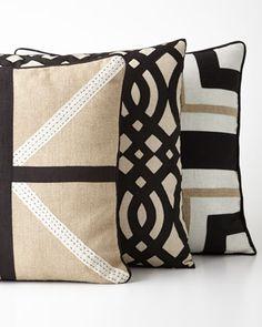 "Bandhini Raven Pillows - Horchow Pillow with crisscross black and white cross motif hand stitched of linen; 18""Sq. Grille pillow hand stitched of cotton/viscose; 21""Sq. Black cross pillow hand stitched of linen; 21""Sq."