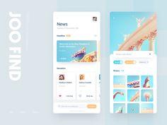 Joo Find search white news photo color blue ui design app Web Design, App Ui Design, User Interface Design, Flat Design, Design Layouts, Ui Kit, Apps, Application Ui Design, Mobile Application
