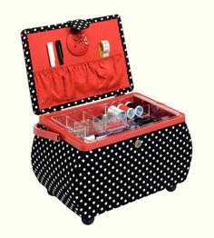 Prym sewing basket Polka Dots black/white L | Prym Nähkorb Polka Dots schwarz/ weiß L