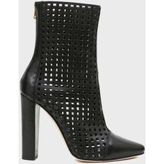 Balmain Perforated leather bootie (€438) ❤ liked on Polyvore featuring shoes, boots, ankle booties, black, high heel ankle boots, leather boots, black high heel booties, leather booties and black boots