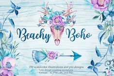 This boho-themed watercolor collection brings artistic cultivation to folksy motifs on Creative Market. Digital design goods for personal or commercial projects. Graphic design elements and resources.