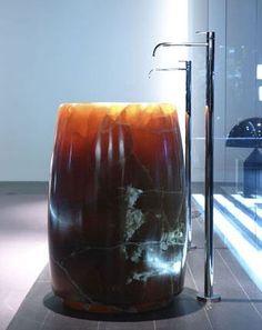 Antonio Lupi Barrel washbasin in Onix. Pedestal Sink Bathroom, Pedestal Basin, Sinks, Bathroom Suites Uk, Bathrooms, Barrel Sink, Kitchen Arrangement, Natural Stone Fireplaces, Flora Und Fauna