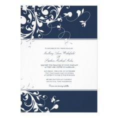 Elegant Navy Blue Wedding Invitation
