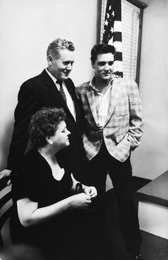Army induction day, March, 1958. Elvis with his parents.