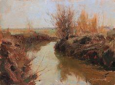 Marc Hanson, Creek and Cane, 9x12, oil