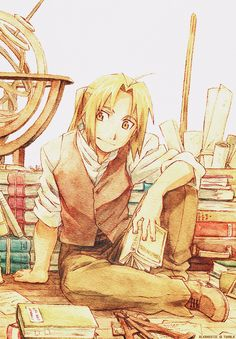 One of my favourite anime characters surrounded in books - what's not to like?! Ed - Fullmetal Alchemist