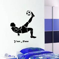 FOOTBALL Soccer Player Action with Custom name  Wall by JRDecal, £16.99