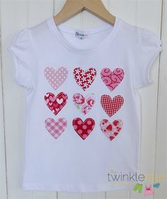 All My Love - Valentine hearts applique tee! Pink, red, floral