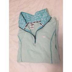 VS PINK Long Sleeve Fleece PINK by Victoria's Secret • Long Sleeve Cotton Jumper in Seafoam color • Zip up & Collar • Stretchy, soft cotton & spandex fabric  PINK Victoria's Secret Tops Sweatshirts & Hoodies