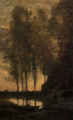 The Ferryman Tying his Boat - Camille Corot