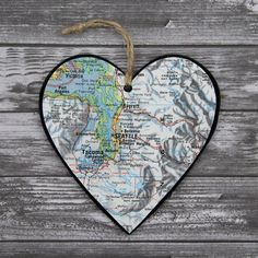 Seattle Map Ornament, Heart Ornament, Chalkboard Ornament, Washington Ornament, Vintage Map, Gifts Under 15, Map Gifts, Personalized Message