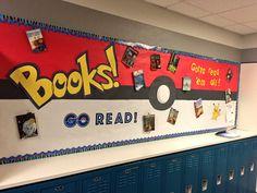 Gotta read em all pokemon go books Library Displays, Classroom Displays, Classroom Themes, Superhero Classroom Door, High School Classroom, School Library Decor, Reading Display, All Pokemon, Bulletin Board