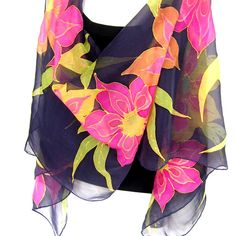 Hand Painted Silk Scarf Floral Black Multicolor Orange by silkshop, $110.00