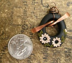 Hand Forged Copper and Polymer Clay Toggle Clasp