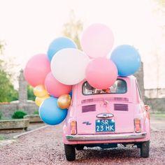 Mega ballonnen op een hippe Fiat 500!