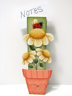 Daisies Clothespin Note Photo Memo Holder  by ToleTreasures, $14.95