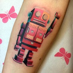 Pink robot tattoo by Giena Todryk