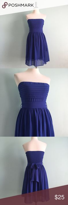 Cobalt Strapless Dress Beautiful flowy cobalt blue dress with tie belt on waist. Little pleats on bodice and fit & flare shape. Stretchy back. Super flattering and a beautiful color on anyone! In excellent condition. Size small by Hot & Delicious. Hot & Delicious Dresses Strapless