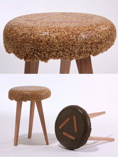 stools and coffee table Designer Yoav Avinoam built this coffee table and a pair of stools by casting sawdust and resin in a form.Designer Yoav Avinoam built this coffee table and a pair of stools by casting sawdust and resin in a form. Coffee Table With Stools, Coffee Table Design, Table Stools, Sustainable Furniture, Sustainable Design, Resin Furniture, Furniture Design, Easy Crafts To Sell, Office Chair Without Wheels